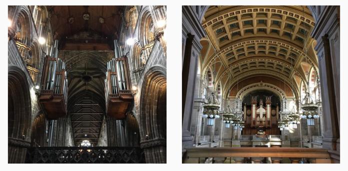 Órgãos de tubos da Catedral de São Mungo (esq) e da galeria e museu Kelvingrove (dir)