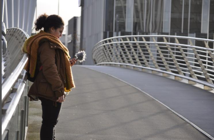 Gravando na ponte entre a BBC e o Imperial War Museum North